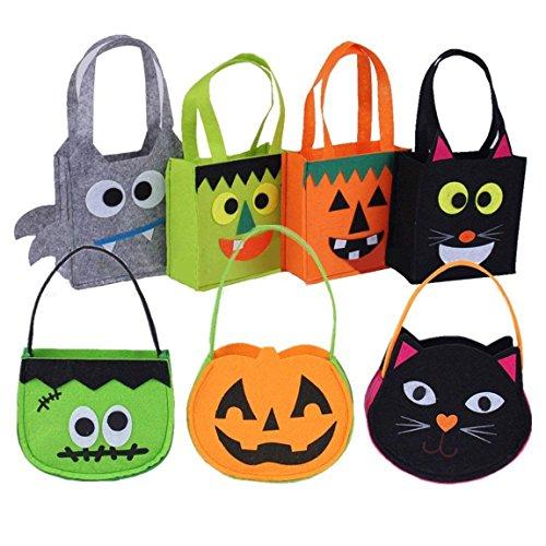 Happyshop Halloween-Tüten für Süßigkeiten oder Süßigkeiten, mit Griff, tragbar, Filzbeutel für Kinder, Halloween, Partyzubehör (7 Packungen)