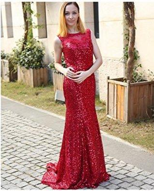Vickyben Damen Pailletten Meerjungfrau Ballkleid brautjungfer Cocktail Party kleid Abendkleid lang Grün