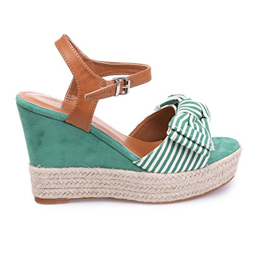 La Modeuse Sandales CompenséesenSuédine Vert