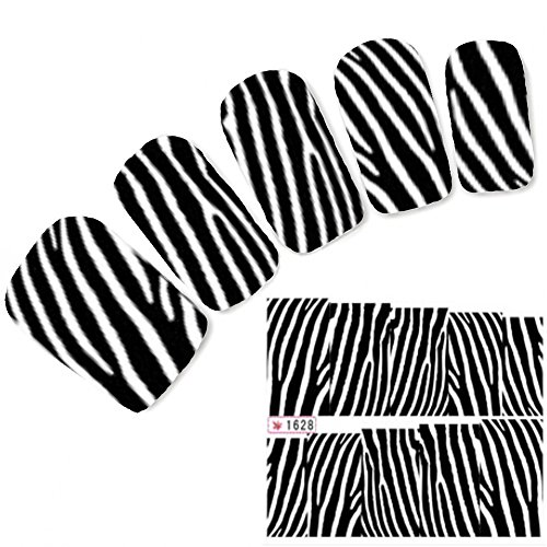 JUSTFOX - Tattoo Nail Art Aufkleber Glitzer Muster Sticker Zebra Water Decall (Zebra Tattoo)