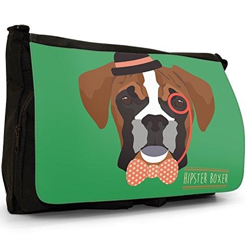 Hipster Bohemian animali grande borsa a tracolla Messenger Tela Nera, scuola/Borsa Per Laptop Hipster Bohemian Trendy Boxer