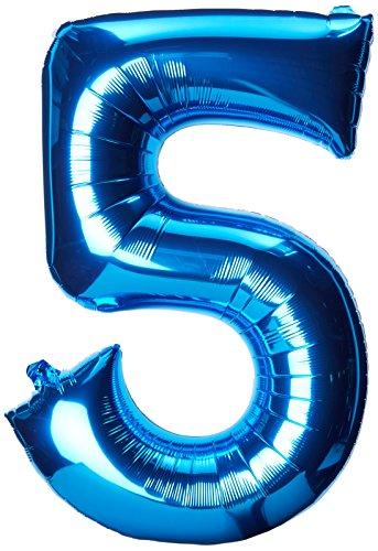 Party Geburtstag Favors 5. (NEU Folienballon Große Zahl 5 blau, 53x86 cm)