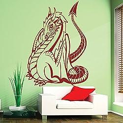 Dragón de dibujos animados Fantasía de los niños Dragón vinilos decorativos Inicio decoración art pegatinas disponible en 5 tamaños y 25 colores X-Grande Musgo Verde