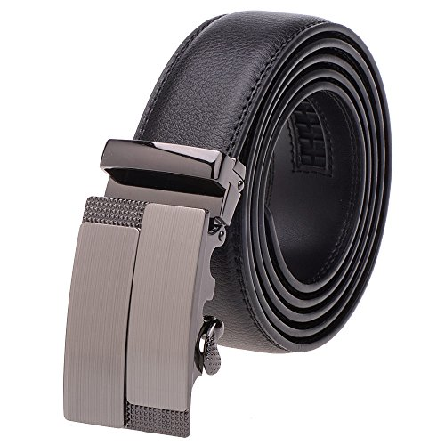VBIGER Belt Leather Belts Automatic Buckle (one size, Black 1)