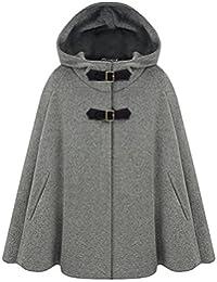 Zicac Damen Mantel Modern Verdeckte Knopf Hooded Ärmellose Schal Cape Mantel Fledermausumhang