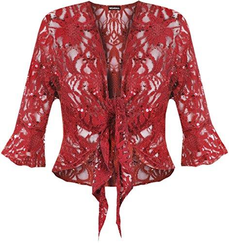 WearAll - Cardigan court pailleté en dentelle avec un noeud et les manches mi-longues et évasées - Cardigans - Femmes - Grandes tailles 40 à 54 Vin