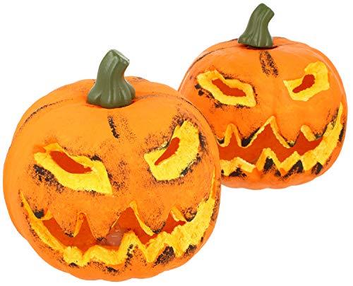 Com-four® 2x zucca con illuminazione a led - lanterna per halloween e autunno - zucca decorata con un sorriso spaventoso (002 pezzi - zucca 16 cm)