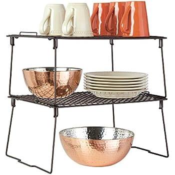 Konservendosen und Gew/ürze moderner Schrankeinsatz f/ür Geschirr faltbares K/üchen Schrankregal mit ausklappbaren Beinen bronzefarben mDesign 2er-Set stapelbarer Regaleinsatz