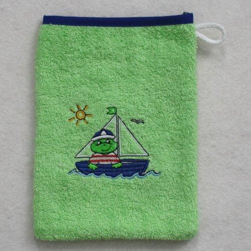 Wörner Gant de toilette en éponge 15 x 20 cm, Frosch/Boot apfelgrün, 15 x 20 cm
