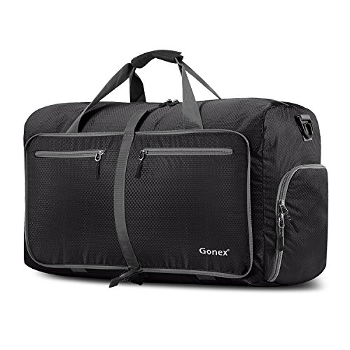 Gonex 60L Foldable Travel Duffel Bag for Luggage, Gym, Sport, Camping, Storage, Shopping Water & Tear Resistant Black