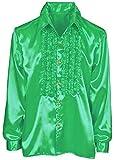 Das Kostümland Satin Rüschenhemd Johnny - Grün Gr. 48