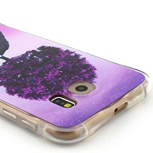 Uming® Crashsichere Crashproof Serie Bunte Muster Druck Zeichnung weichen TPU Fall Abdeckung Hülle ( Snow Girl - für IPhone 5S 5 5G SE IPhone5S IPhoneSE ) Airbag Blase Tropfen Beweis Sturzerkennungs S Purple Tree on Hill