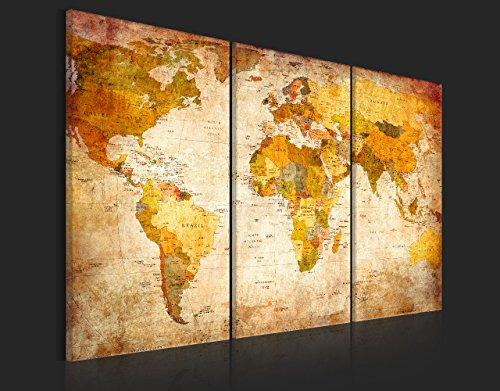 Bilder 120x80 cm - XXL Format - Fertig Aufgespannt – TOP - Vlies Leinwand - 3 Teilig - Wand Bild - Kunstdruck - Wandbild – Weltkarte Welt Karte Kontinente 020213-2 120x80 - 3