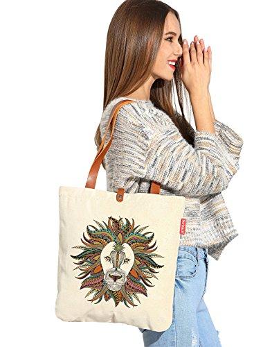 So'each Women's Animal Aztec Lion Graphic Top Handle Canvas Tote Shoulder (Aztec Pesce)