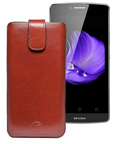 Favory Tasche Leder Etui für TP-Link Neffos C5L   ECHT Ledertasche Hülle Schutzhülle (Lasche mit Rückzugfunktion) braun