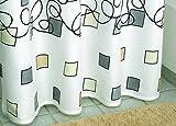 Duschvorhang Textil ~ Motiv: Rechtecke / Quadrate ~ Farbe: beige hellbraun schwarz weiß und grau ~ Maße: 180 x 200 cm ~ 100 % Polyester ~ mit 12 Ösen ~ ohne Duschringe
