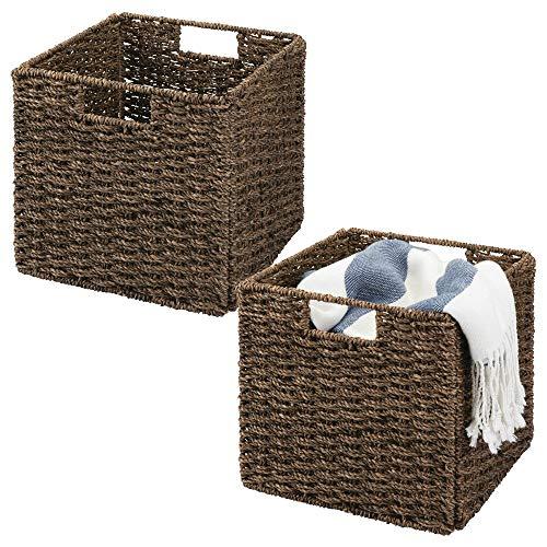 mDesign Juego de 2 cajas de almacenaje - Cajas organizadoras plegables hechas de mimbre - Cestas de almacenaje ideal para ropa, juguetes o revistas - Canasta con patrón trenzado - marrón oscuro