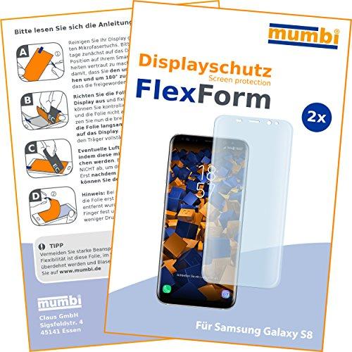 mumbi 2 x FlexForm Schutzfolie für Samsung Galaxy S8 Folie (TPU Displayschutzfolie legt Sich passgenau um das Gebogene Display)