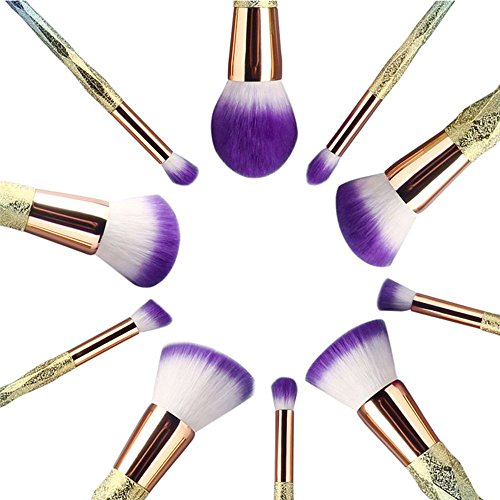 CDC� 10Pcs Unicorn Rainbow Diamond Handle Soft Synthetic Hair Makeup Brush Set Make Up Brushes Eyeshadow Blusher Powder Blending Brush Kit with Carry Bag