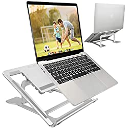 ELZO Support de Ordinateur Portable, Support D'ordinateur Portable Ventilé en Aluminium Pliant Réglable Ergonomique Stand de Bureau Pliable pour MacBook Air Pro/PC/iPad/Notebook/Tablette