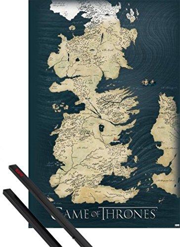 1art1 Póster + Soporte: Juego De Tronos Póster (91x61 cm) Mapa De Westeros, Los Siete Reinos Y 1 Lote De 2 Varillas Negras