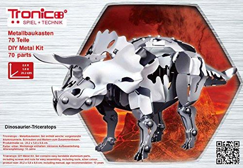 TRONICO 3D Puzzle Bausatz Baukasten Aluminium Dinosaurier Triceratops - Alter 10+ (Metallbaukasten Triceratops)