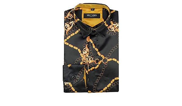 Schwarz//goldfarben Barockmuster Xposed Herren Satin Hemd im italienischen Designer-Stil seidiges Gef/ühl