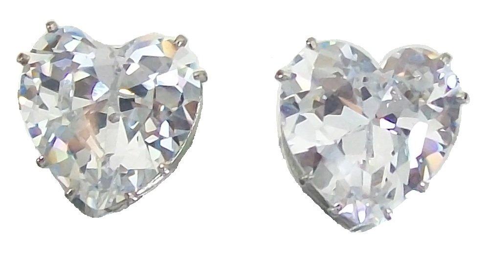 Argento a forma di cuore in zirconia cubica cristallo diamante orecchini Fancy gioielli per ragazze