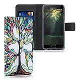 kwmobile Hülle für Samsung Galaxy A3 (2016) - Wallet Case Handy Schutzhülle Kunstleder - Handycover Klapphülle mit Kartenfach und Ständer bunter Baum Design Mehrfarbig Grün Weiß