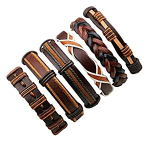 6pcs Brown Wrap Real leather bracelet for Boys friendship Bracelets Casual Wraps Cuff Casual Party Wear Skin Friendly By…