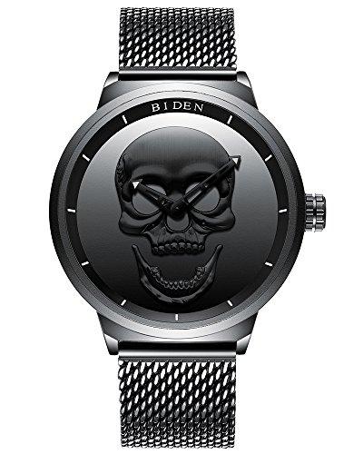 Herren Uhr 3D Luminous Schädel Totenkopf Uhr Skull Punk Rock Analoge Quarzuhr Edelstahl Mesh Armband Uhr