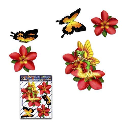 Fee Fantasie Frangipani Plumeria Rote Blume + Schmetterling Tier Abziehbild Auto Aufkleber - ST00062RD_SML - JAS Aufkleber