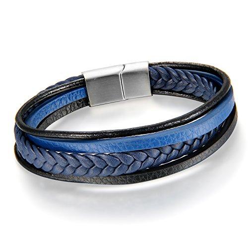 Imagen de cupimatch pulsera hombre cuero trenzada brazalete multicapa azul regalo navidad san valentin joyería de moda para amor