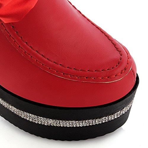AllhqFashion Damen Rund Zehe Rein Blend-Materialien Stiefel Rot-Schleife