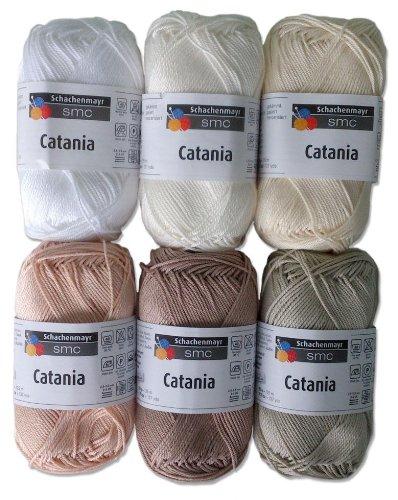 Catania Wolle Set 6, 6x50 Gr., 100 % Baumwolle Weiss Beige Mix -