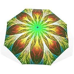 Paraguas, Verde y Amarillo, Fractal Diseño de Flores Grande