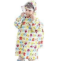 hibote Children Boys & Girls Cartoon Raincoat with School Bag Seat Beige Owl/115-125cm