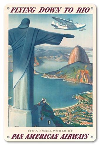 22cm x 30cm Vintage Metallschild - Flug Nach Rio Brasilien - Pan American Airways (PAA) - Christus Der Erlöser Statue - Vintage Retro Fluggesellschaft Reise Plakat von Paul George Lawler c.1930s