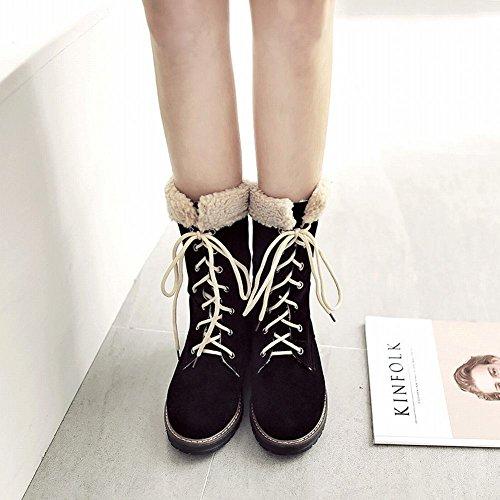 Mee Shoes Damen mit Schnürsenkel halbschaft runde Stiefel Schwarz