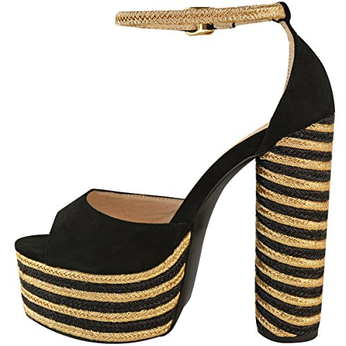 Damen Sandaletten - High Heels mit Bast-Blockabsatz und Plateausohle - Peeptoe Schwarz Veloursleder-Imitat