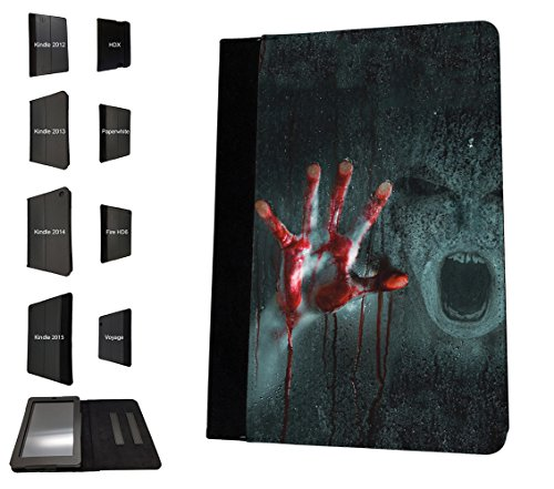 002935 - Scary Ghost Blood Monster Zombie Walking Dead Design Amazon Kindle Paperwhite 6'' 2014/2016 TPU Leder Brieftasche Hülle Flip Cover Book Wallet Stand halter Case