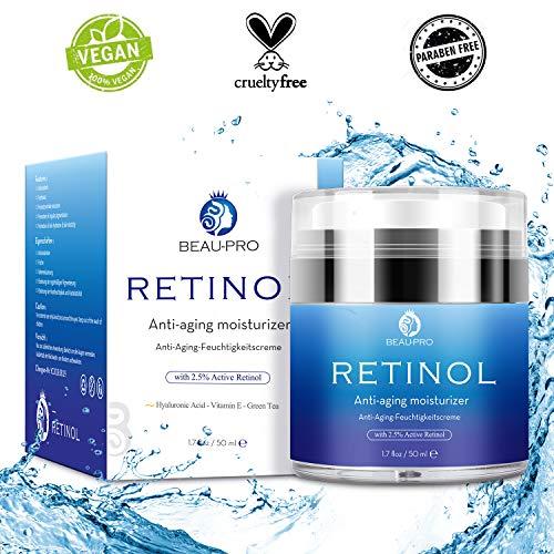 Retinol Creme für Gesicht und Augen, mit 2,5% Active Retinol Hyaluronsäure, Vitamin E, Organische und Natürliche Hautpflege-Behandlung