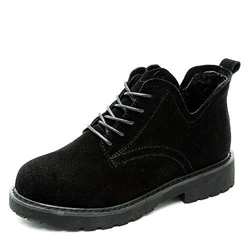 FUFU Stivali da combattimento di autunno / inverno dei caricamenti del sistema delle donne scollatura esterna / casuale del tacco nero / cachi camminando1.78 in (4.5cm) ( Colore : Khaki , dimensioni : Nero