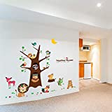 Animaux Indiens Arbre Autocollant Mural Stickers Pour Chambre D'Enfants Pépinière Chambre De Bébé Décor À La Maison Stickers Muraux Art Mural