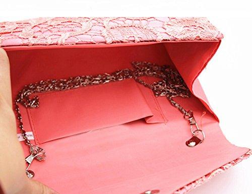 Borsa Pizzo Busta Borsa delle Donne da Sera Damigella Donore Nuziale Borse Clutch rosso