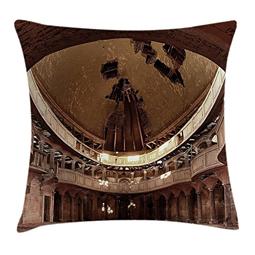 Rustic Home Decor Throw Pillow Cushion Cover, Majestic Authentic Decayed Church with Curve Dome Ceiling Idle Religion Theme, Decorative Square Accent Pillow Case, 18X18 Inches, Tan