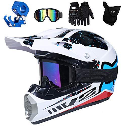QYTK® Full Face MTB Helm, Motocross Cross Helm für Enduro Downhill MX Mountainbike ATV Junge Motorradhelm Zubehör mit Brille Maske Handschuhe Helmhaken,Helle Weiße Blau,XL(58~59CM) - Helm Blau Atv Kinder