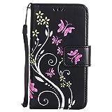 Sony [Xperia Z3 Compact] Hülle Leder, Lomogo Schutzhülle Brieftasche mit Kartenfach Klappbar Magnetverschluss Stoßfest Kratzfest Handyhülle Blumenprägung Case für Sony Xperia Z3 Compact (4,6 Zoll) - HOHA23351 Schwarz