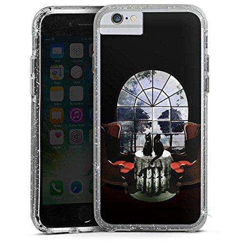 Apple iPhone 6 Plus Bumper Hülle Bumper Case Glitzer Hülle Raum Room Skull Totenkopf Bumper Case Glitzer silber