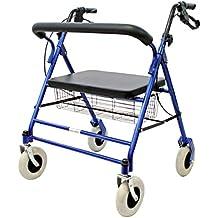 FabaCare Premium XXL Rollator Set G-223, höhenverstellbar, faltbar, mit Sitz, Rückenlehne, Korb, Gehwagen, Rollwagen, bis 227 kg, mit FabaCare Sicherheitsreflektoren